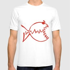 red fish White Mens Fitted Tee MEDIUM