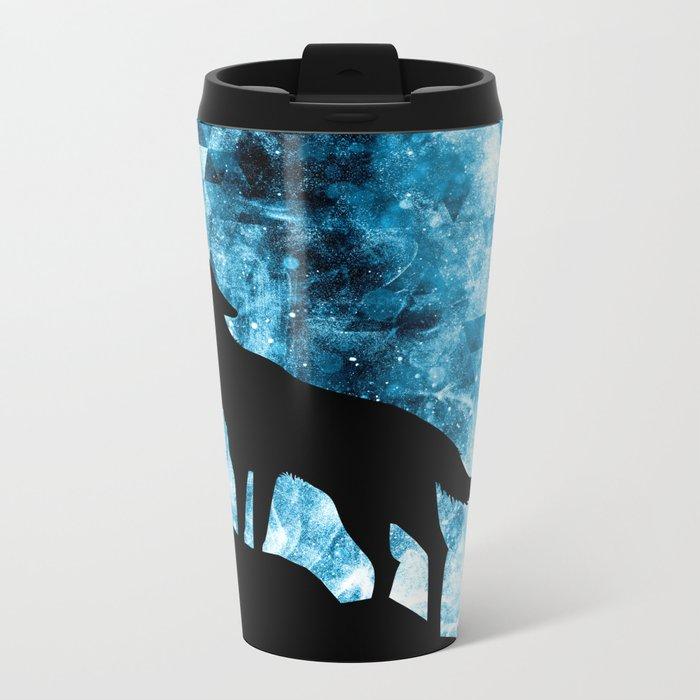 Howling Winter Wolf snowy blue smoke Metal Travel Mug