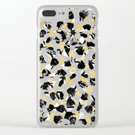 Black white marble faux gold glitter brushstrokes pattern Clear iPhone Case