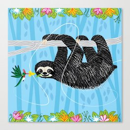 The Sloth and The Hummingbird Canvas Print