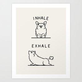Inhale Exhale Corgi Art Print