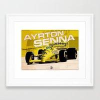 f1 Framed Art Prints featuring Ayrton Senna - F1 1987 by Evan DeCiren