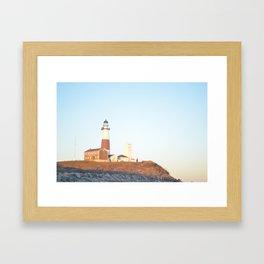 Sunset at Lighthouse in East Hampton Framed Art Print