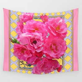 AWESOME PINK ROSES YELLOW-GREY LATTICE  DESIGN Wall Tapestry