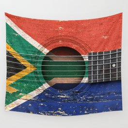 Old Vintage Acoustic Guitar with South African Flag Wall Tapestry