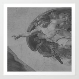 Black White Sistine Chapel Art Print