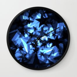 Dark blue space stars with a luminescence from foil in perspective. Wall Clock