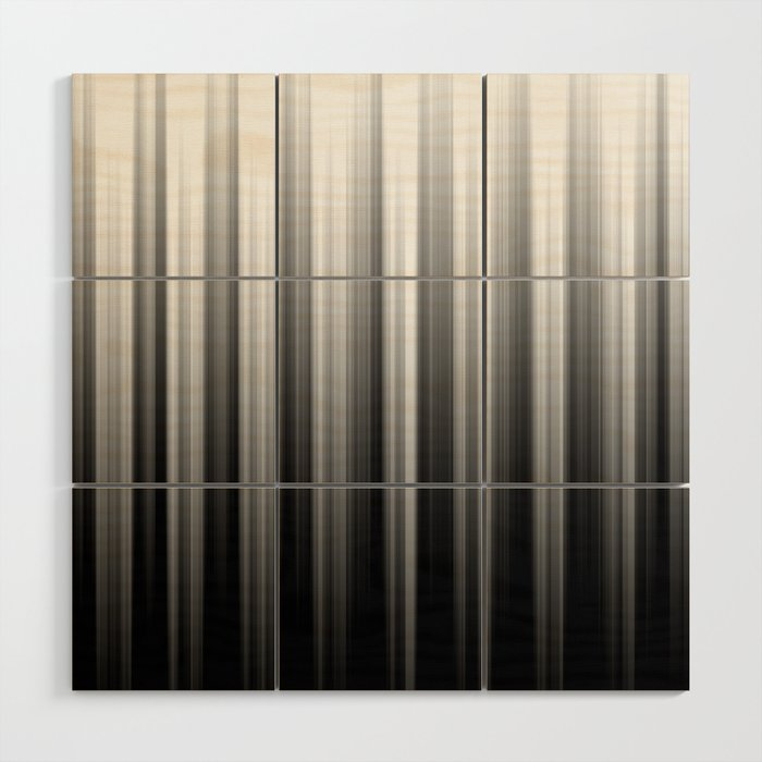 Black And White Soft Blurred Vertical Lines - Ombre Abstract Blurred Design Wood Wall Art
