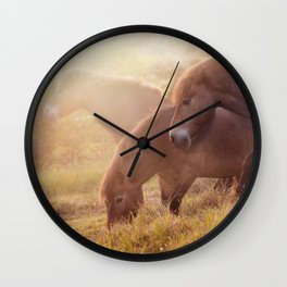 Morning impresion with horses Wall Clock