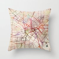 dallas Throw Pillows featuring Dallas by MapMapMaps.Watercolors