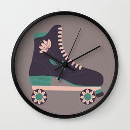 Retro Flower Skate- Purple and Baby Pink Wall Clock