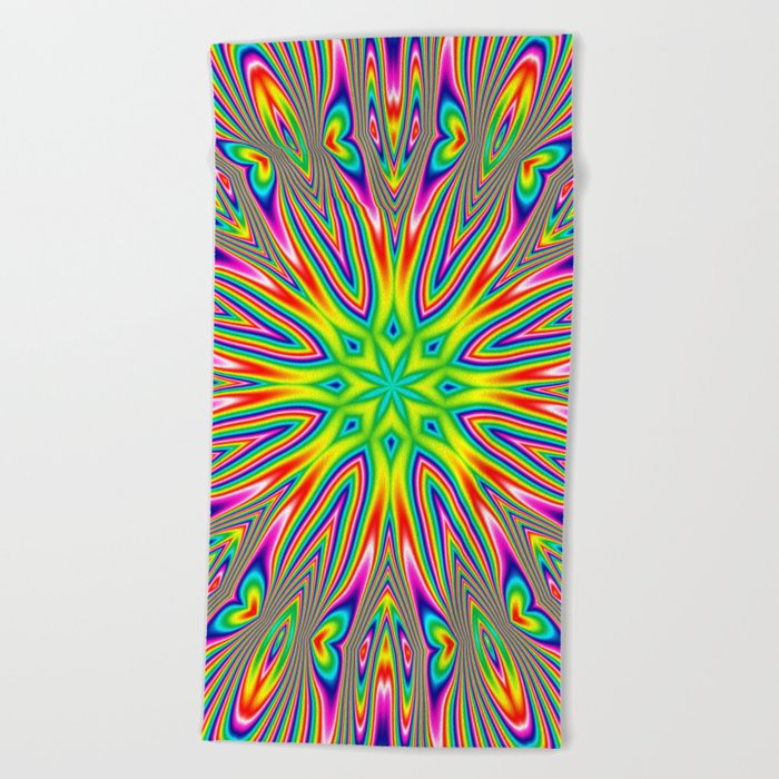 Psychedelic Rainbow Kaleidoscope Beach Towel
