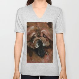 Chow dog portrait Unisex V-Neck