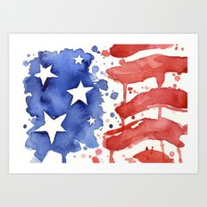 American Flag Watercolor Abstract Stars and Stripes Art Print
