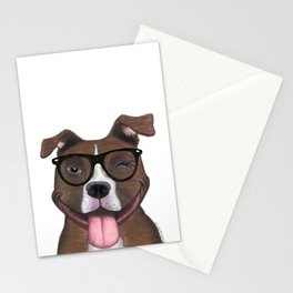 Hipster Pit Bull Stationery Cards