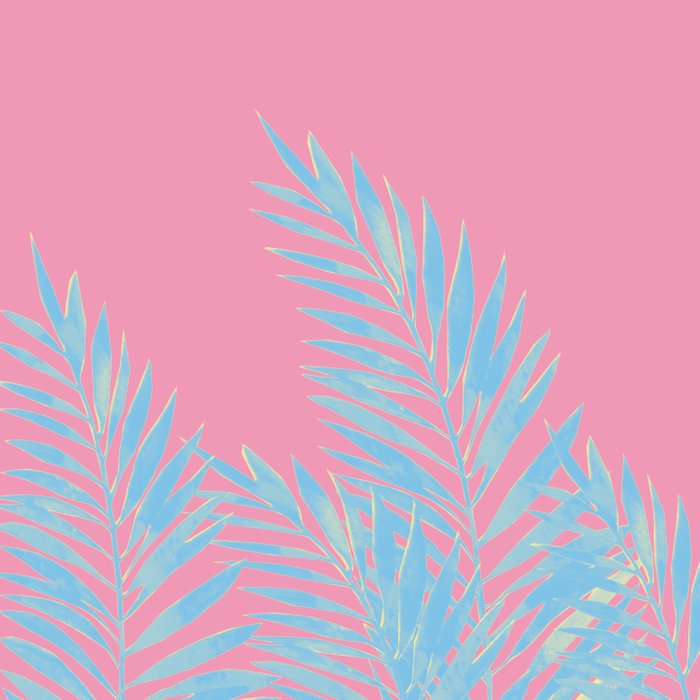 Palm Leaves Blue And Pink Comforters