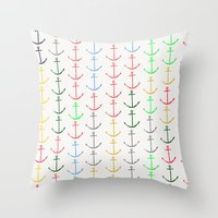 anchors Throw Pillows featuring Anchors by Maressa Andrioli