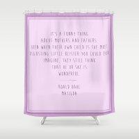 roald dahl Shower Curtains featuring Matilda  by Bonnie J. Breedlove