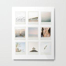 Instant film photo collage | Beach photography retro vintage look Metal Print