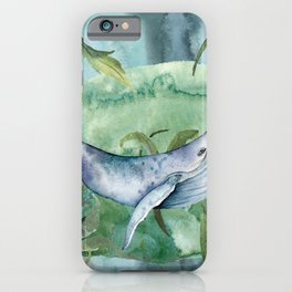 Watercolor Under Sea Collection: Whale iPhone Case