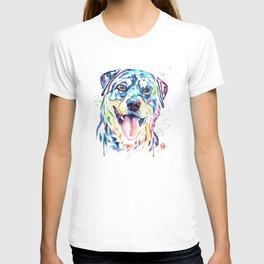 Rottweiler Pet Portrait Colourful Watercolor Painting T-shirt