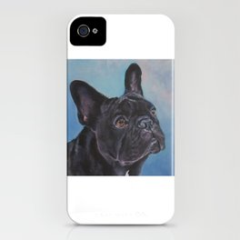 french bulldog dog portrait art from an original painting by L.A.Shepard iPhone Case