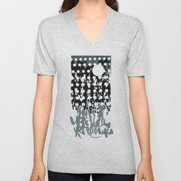 grey calligraphy (screen print) Unisex V-Neck