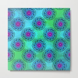 Teardrop Concentric Circle Pattern (Turquoise and Blue) Metal Print