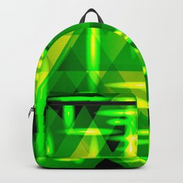 Yellow highlights on a green metal background. Backpack