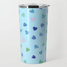 Love, Romance, Hearts - Blue Green Pink Travel Mug