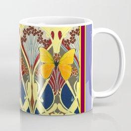 Decorative Yellow Art Nouveau Butterfly Maroon Designs Coffee Mug