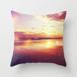 Tropical sunset on a calm beach Throw Pillow