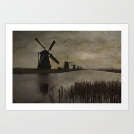 Windmills at Kinderdijk Holland Art Print