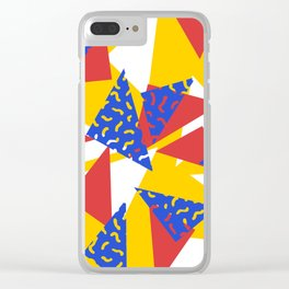 90's Triangles and Squiggles Clear iPhone Case