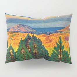 Across the Colorful Autumn Valley with Mountains by Rockwell Kent Pillow Sham