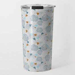 Cinnamon Swirls and Hearts - Gray-Blue-Caramel Travel Mug