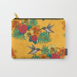 Hummingbirds and tropical bouquet in yellow Carry-All Pouch