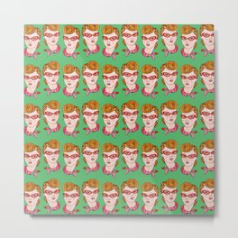 Quiff Girl Pattern Metal Print