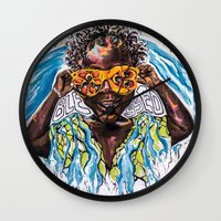 "jamaica Wall Clocks featuring ""Ackee Eyes"" / PAINT JAMAICA by PAINT JAMAICA"