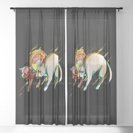 Electric Cat Sheer Curtain