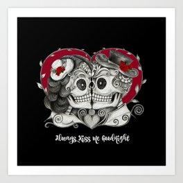 Roses Sugar Skull Couple, Always Kiss Me Goodnight Art Print