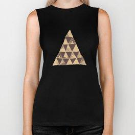 Dark Brown Tribal Triangles Biker Tank