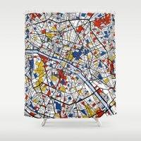 paris map Shower Curtains featuring Paris by Mondrian Maps