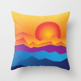 sunrise sunset vintage poster Throw Pillow