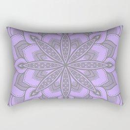 Purple Gray Flower Mandala Rectangular Pillow