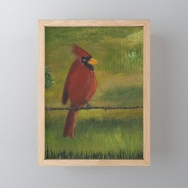 Kevin the cardinal loves to sing his heart out on the farm Framed Mini Art Print