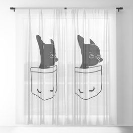 Frenchie in the Pocket French bulldog Sheer Curtain