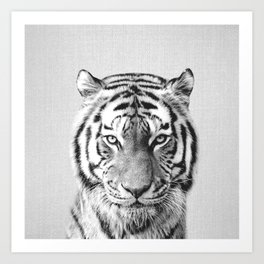 Tiger - Black & White Art Print