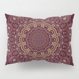 Gold Mandala Mosaic on Royal Red Pillow Sham