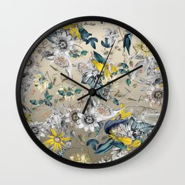 Exotic Fragrant Floral Garden in Gold Wall Clock